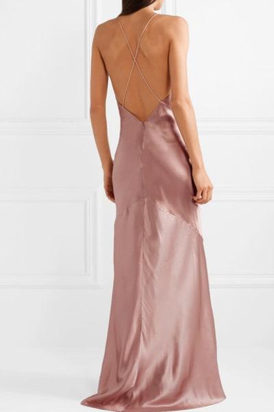 Michael Lo Sordo Asymmetric Silk Satin Dress 4