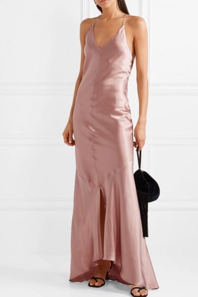 Michael Lo Sordo Asymmetric Silk Satin Dress 2