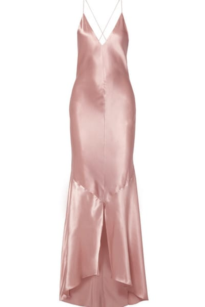 Michael Lo Sordo Asymmetric Silk Satin Dress