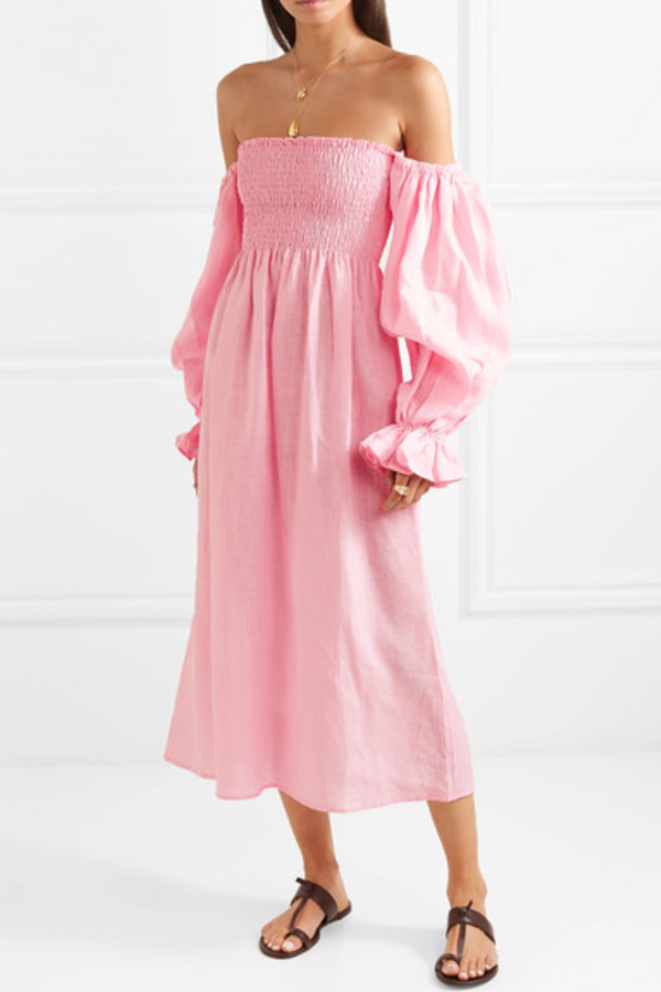 Sleeper Atlanta shirred linen dress 3