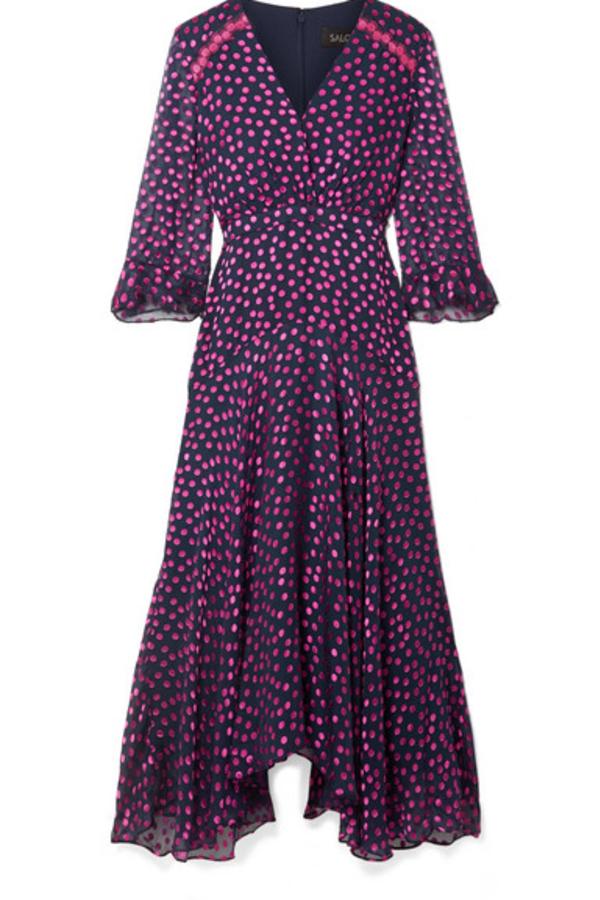 Saloni Edith polka-dot flocked silk-blend chiffon midi dress 5