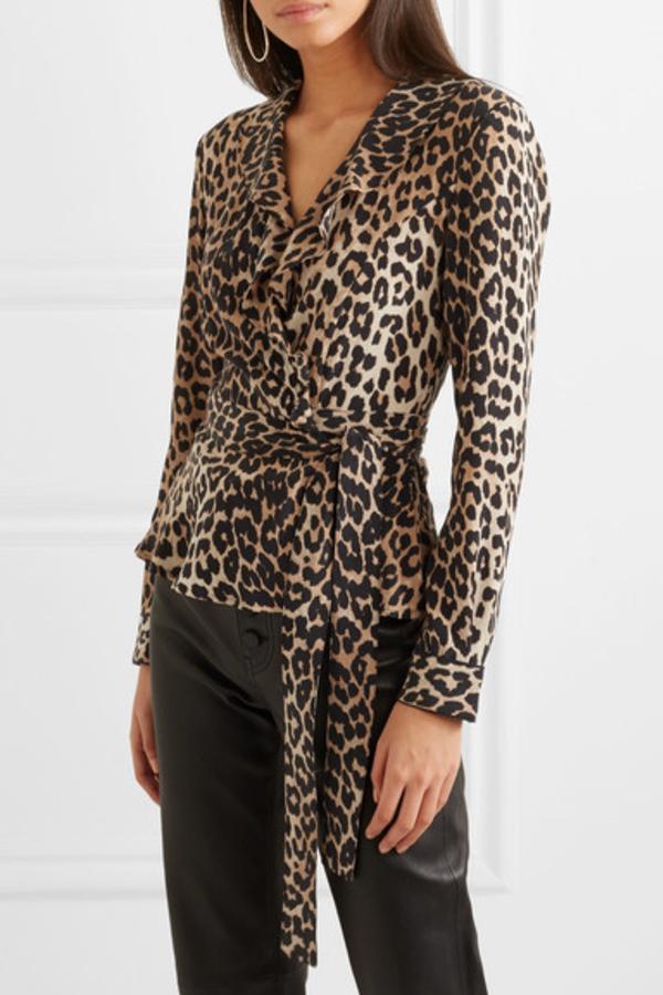 Ganni Ruffled leopard-print silk wrap top 2
