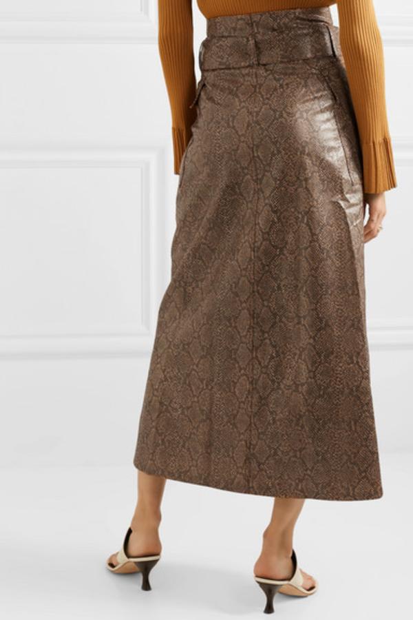 Nanushka Aarohi snake-effect skirt 2