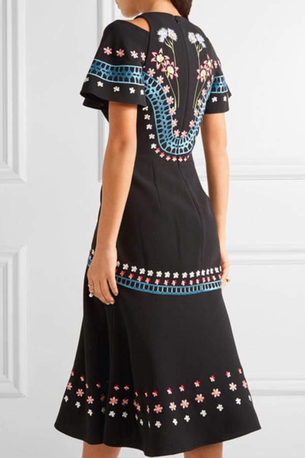 Temperley London Juniper cutout embroidered crepe dress