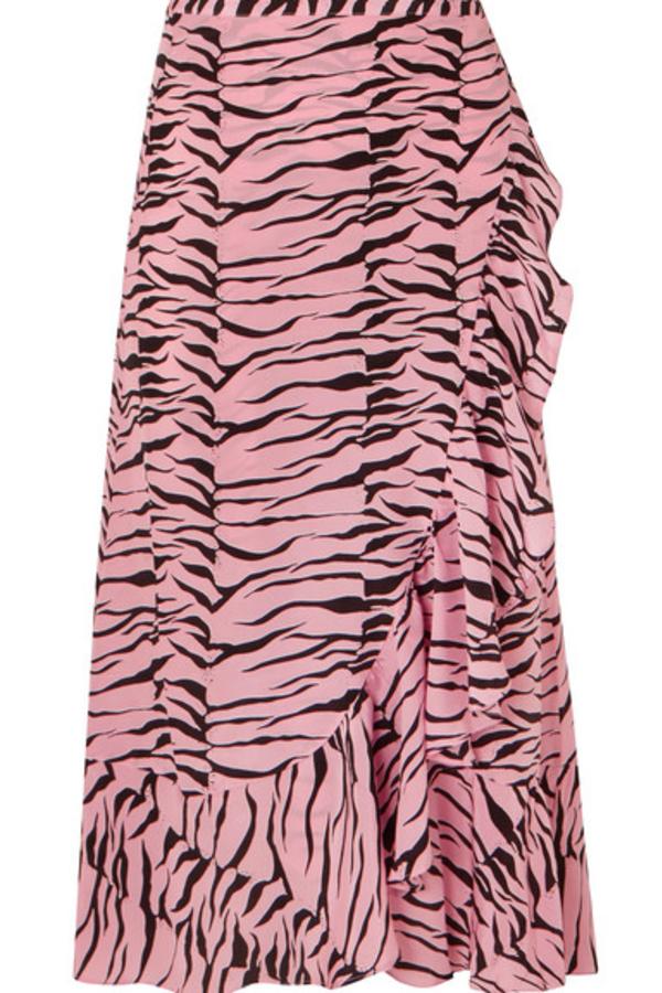 RIXO London Gracie ruffled printed silk crepe de chine wrap skirt 2