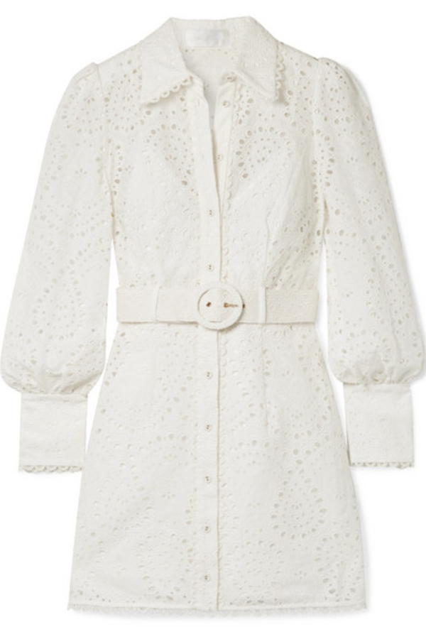 Zimmermann Belted broderie anglaise mini