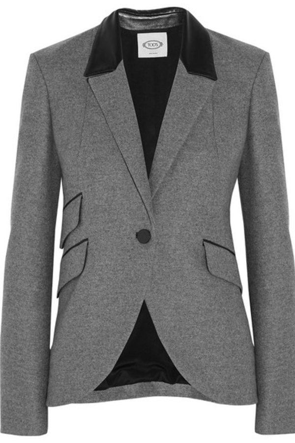 Tod's  Tod's Leather-trimmed wool blazer