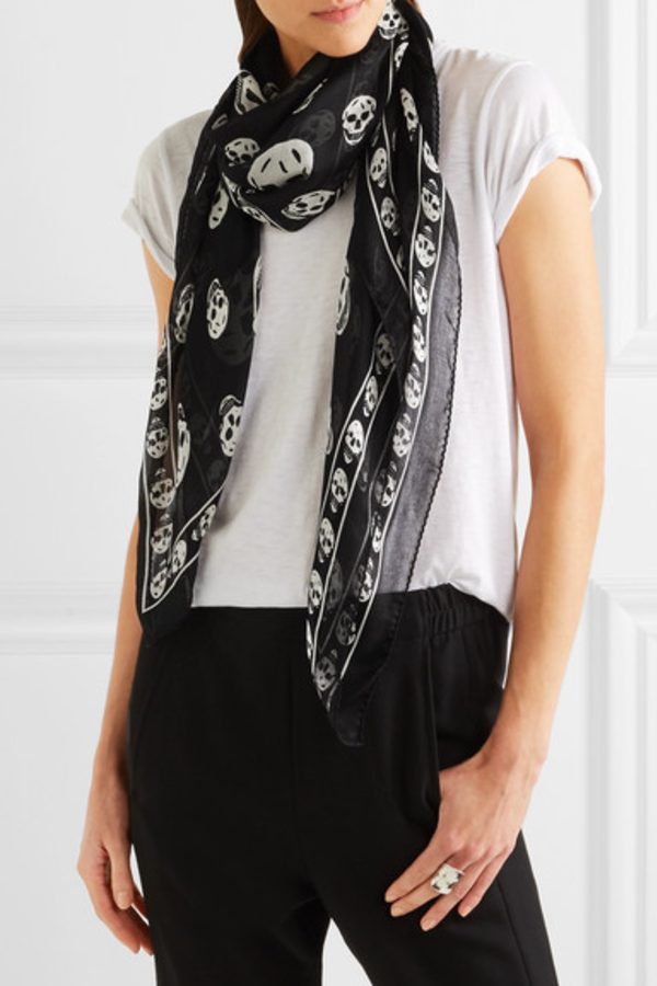 Alexander McQueen Printed silk-chiffon scarf 2