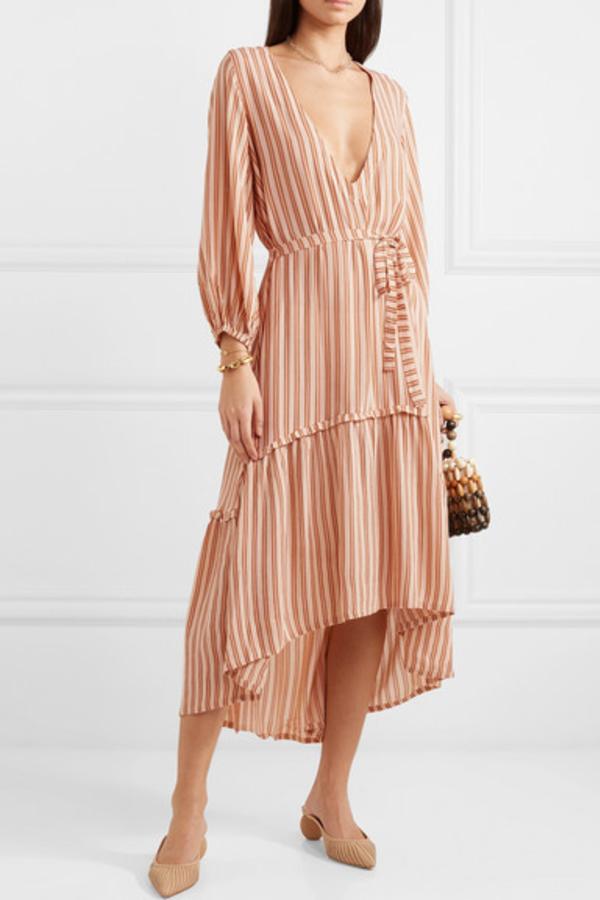 Faithfull The Brand Matilda asymmetric striped crepe midi dress 2