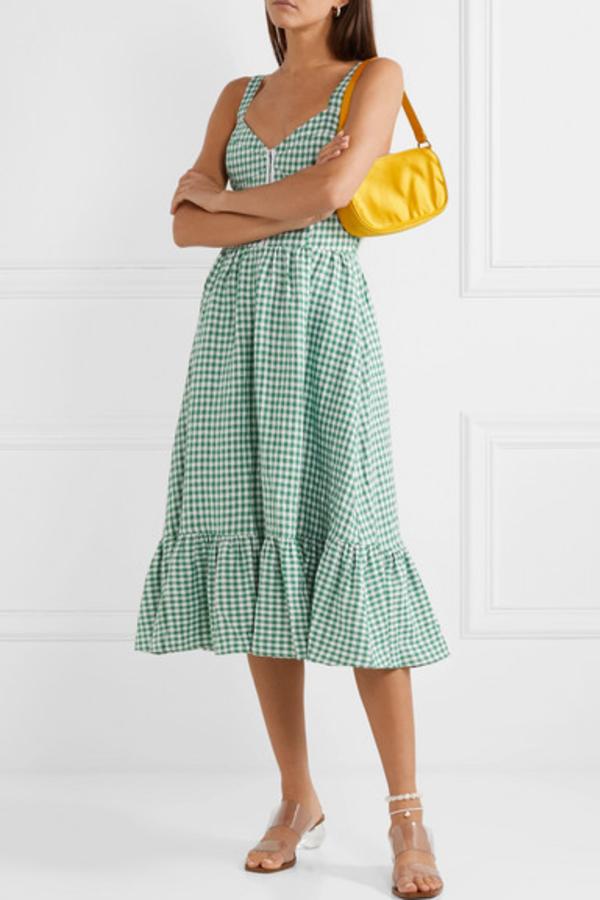 Reformation Dolls green gingham dress 4