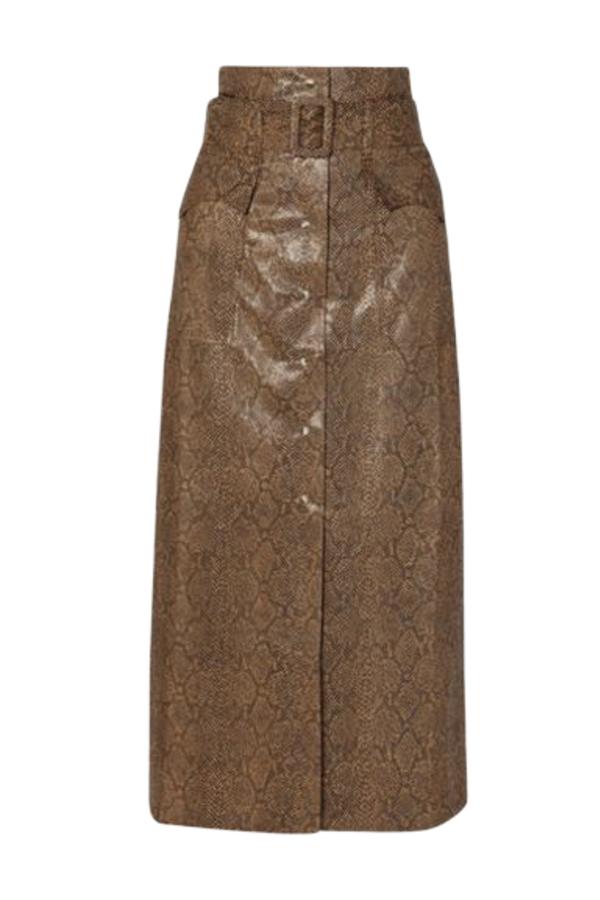 Nanushka Aarohi snake-effect skirt