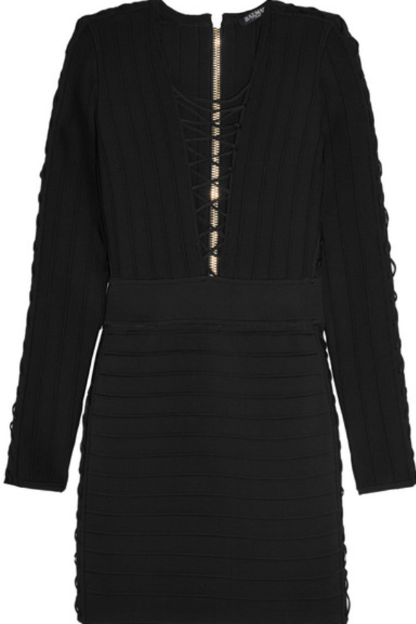 Balmain Lace-Up Bodycon Dress 2
