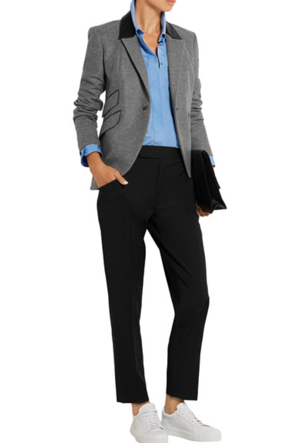 Tod's  Tod's Leather-trimmed wool blazer 3