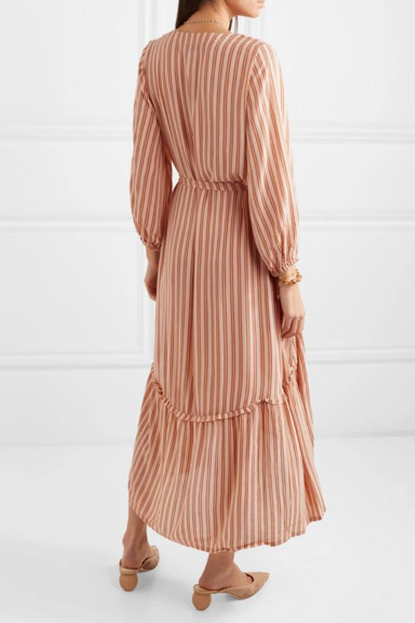 Faithfull The Brand Matilda asymmetric striped crepe midi dress