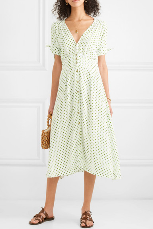 Faithfull The Brand Billie polka-dot crepe midi dress 2