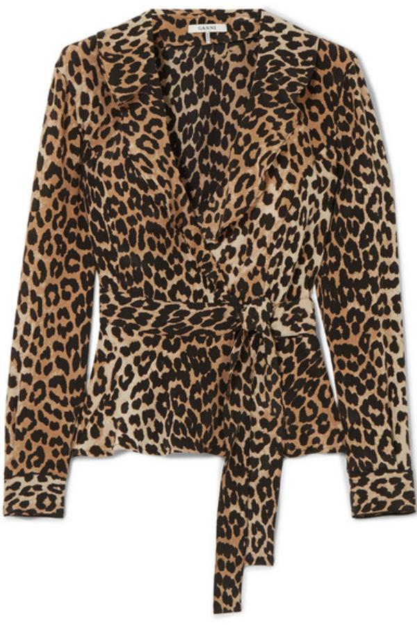 Ganni Ruffled leopard-print silk wrap top 5