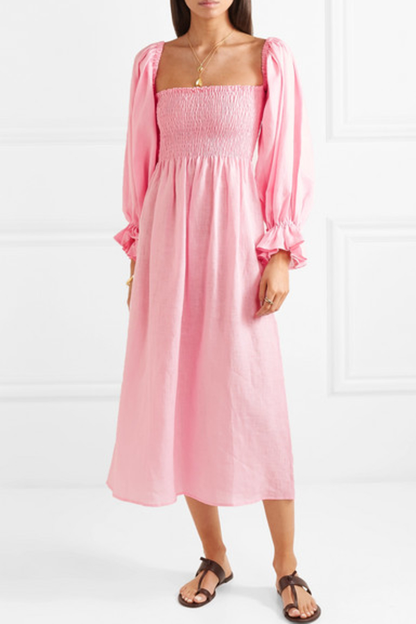 Sleeper Atlanta shirred linen dress