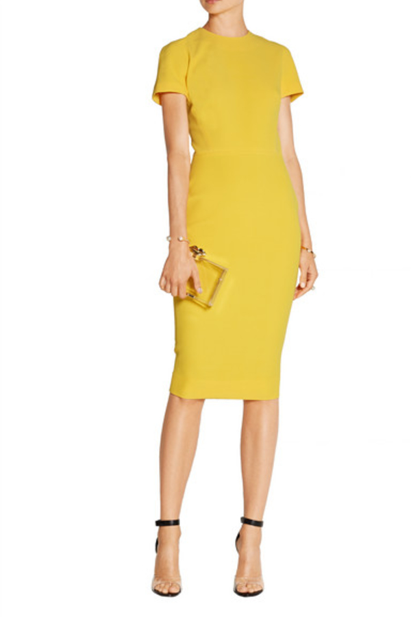 Victoria Beckham Silk and wool-blend crepe dress yellow 2