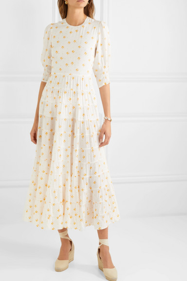 RIXO London Agyness tiered floral dress 3
