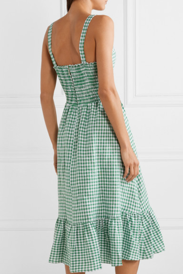 Reformation Dolls green gingham dress 5