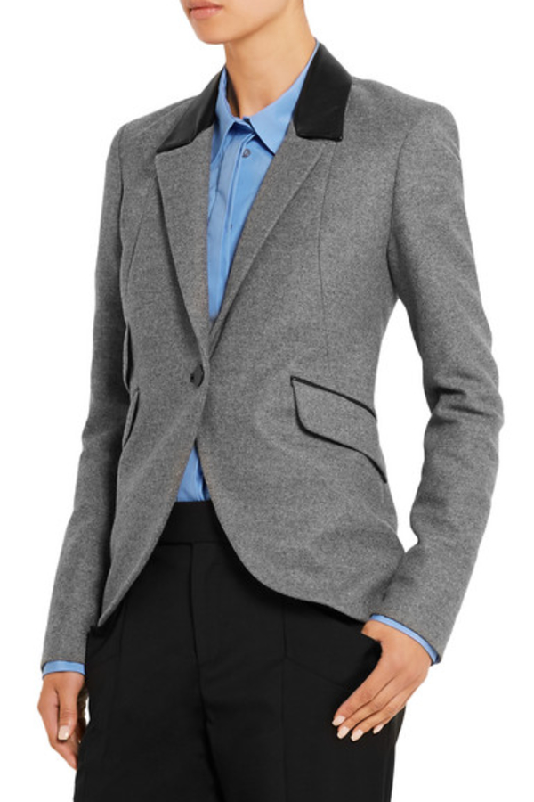 Tod's  Tod's Leather-trimmed wool blazer 2