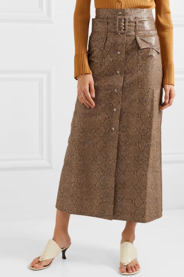Nanushka Aarohi snake-effect skirt 3
