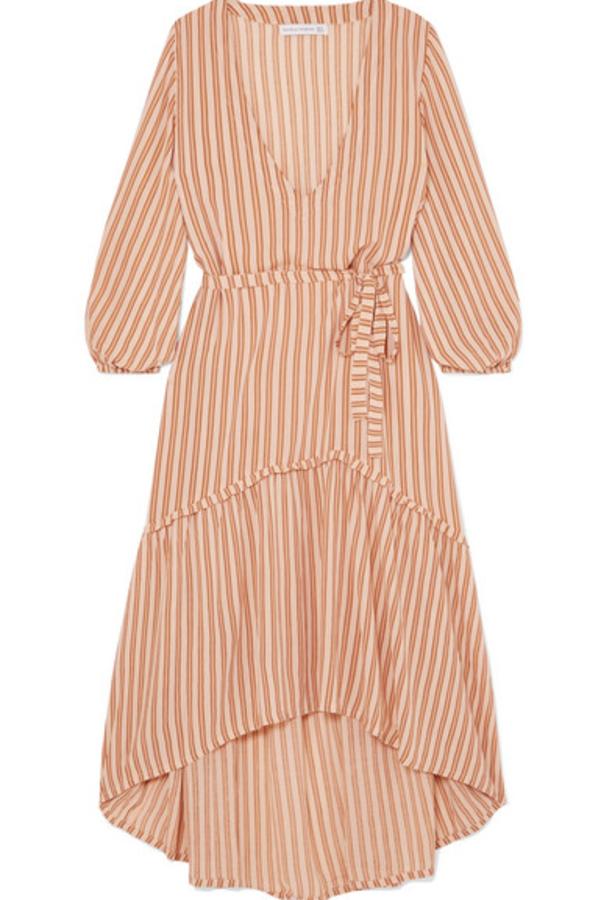 Faithfull The Brand Matilda asymmetric striped crepe midi dress 3