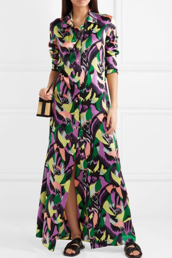 Olivia von Halle Hero printed silk-satin maxi dress