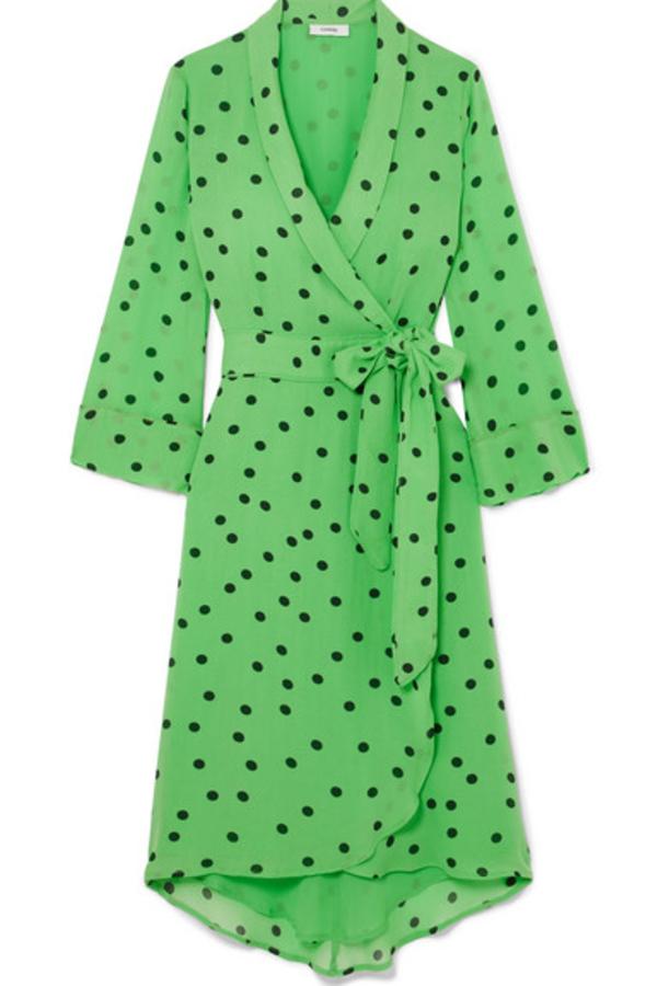 Ganni Dainty Polka Dot Crepe Wrap Dress in Green