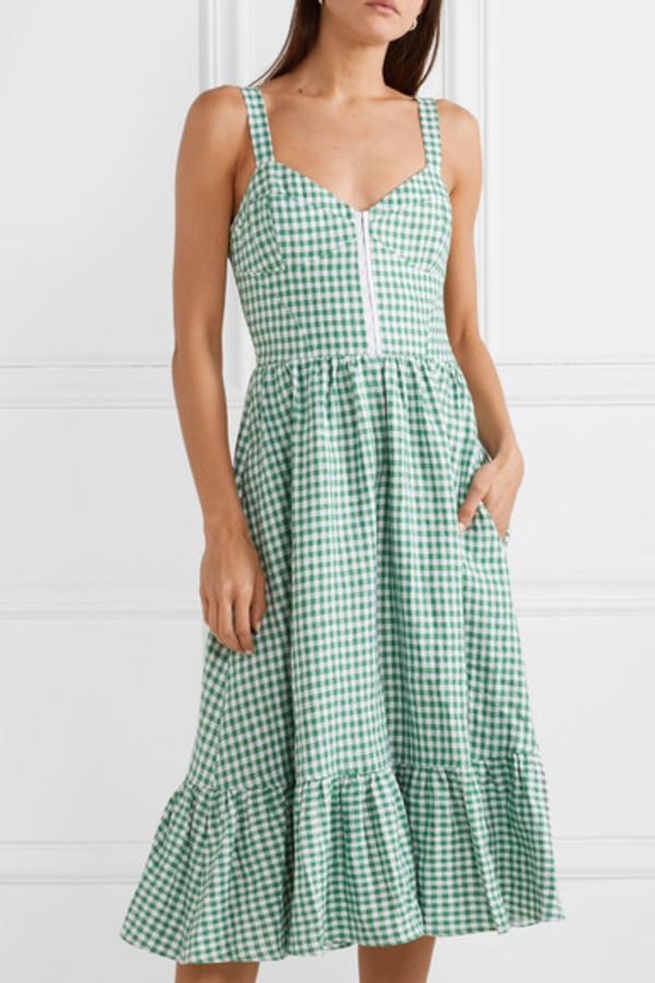 Reformation Dolls green gingham dress 3