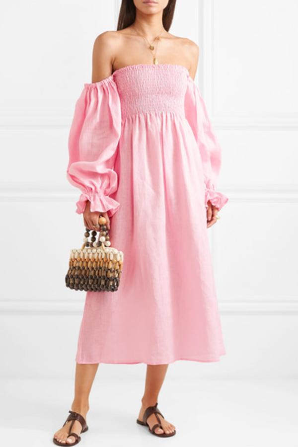 Sleeper Atlanta shirred linen dress 2