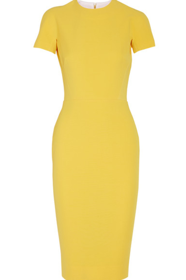 Victoria Beckham Silk and wool-blend crepe dress yellow