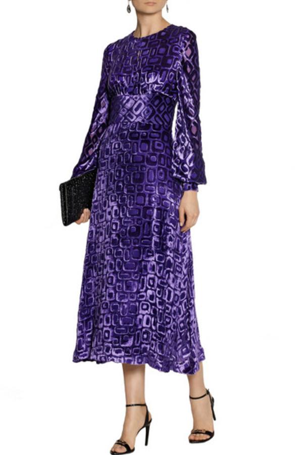 Tamara Mellon Velvet-flocked chiffon midi dress 2