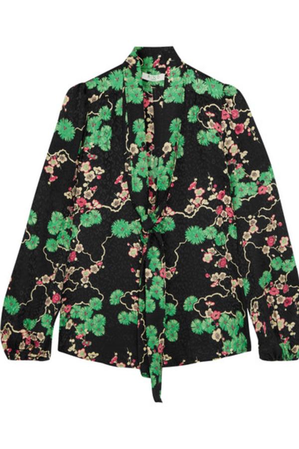 RIXO London Moss pussy-bow printed silk-jacquard blouse 2