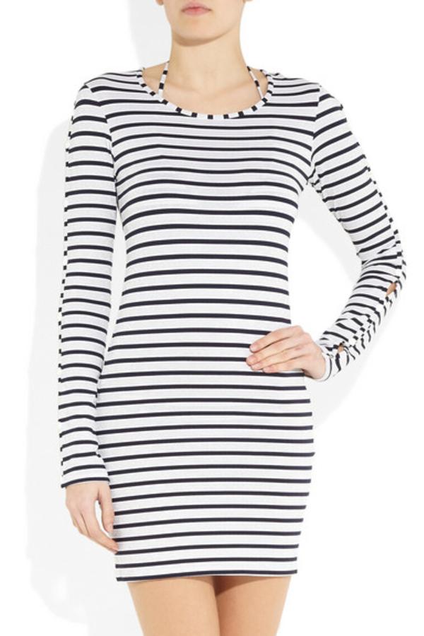 Melissa Odabash Black Jamie Striped Stretch-Jersey Mini Dress 2