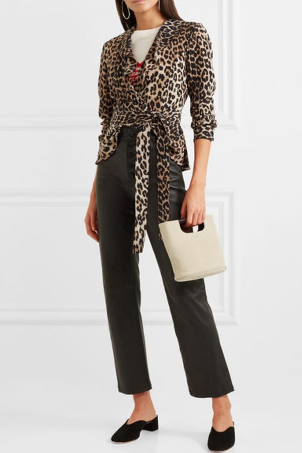 Ganni Ruffled leopard-print silk wrap top 3