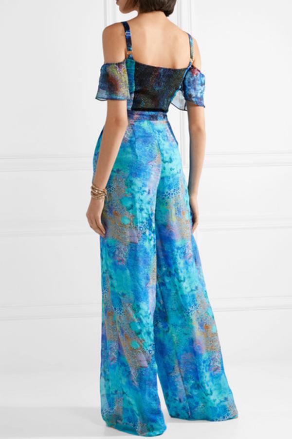 Matthew Williamson Ocean Odyssey cold-shoulder printed silk-chiffon jumpsuit 3