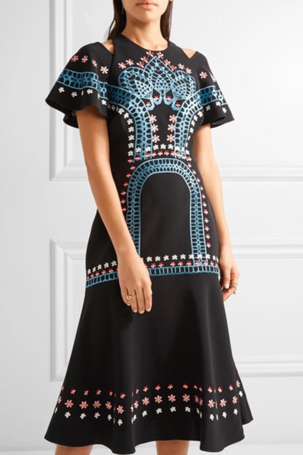 Temperley London Juniper cutout embroidered crepe dress 2