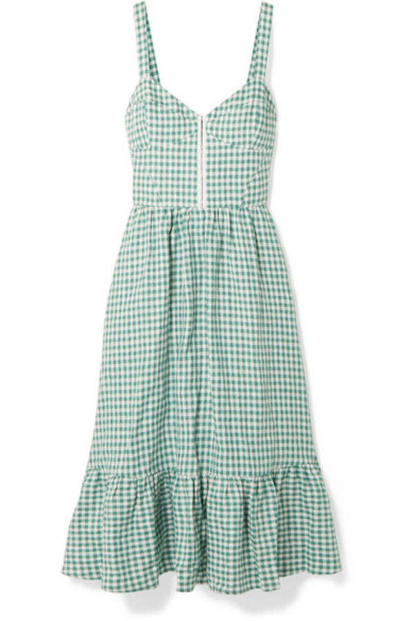 Reformation Dolls green gingham dress 2