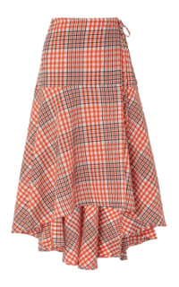 Ganni Cotton seersucker wrap skirt Preview Images