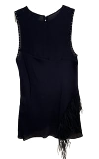 3.1 Phillip Lim Feather-trimmed studded silk crepe de chine top 3 Preview Images