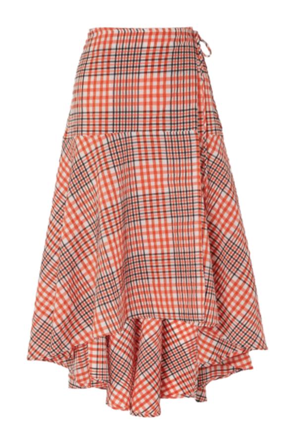 Ganni Cotton seersucker wrap skirt