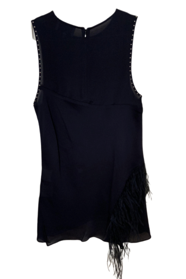 3.1 Phillip Lim Feather-trimmed studded silk crepe de chine top 3