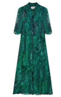 BA&SH Rozy Snakeskin Chiffon Dress Preview Images