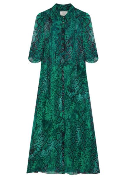 BA&SH Rozy Snakeskin Chiffon Dress