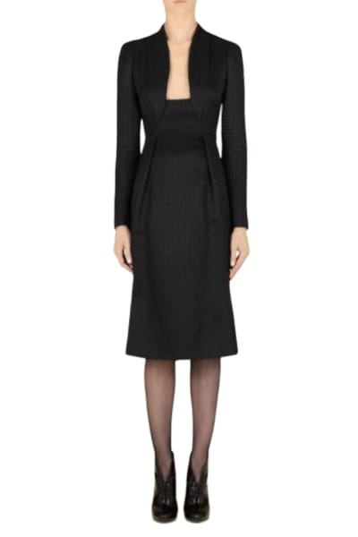 Gucci Houndstooth Open-Neck Dress