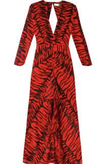 RIXO London Rose Tiger-Print Silk Dress Preview Images
