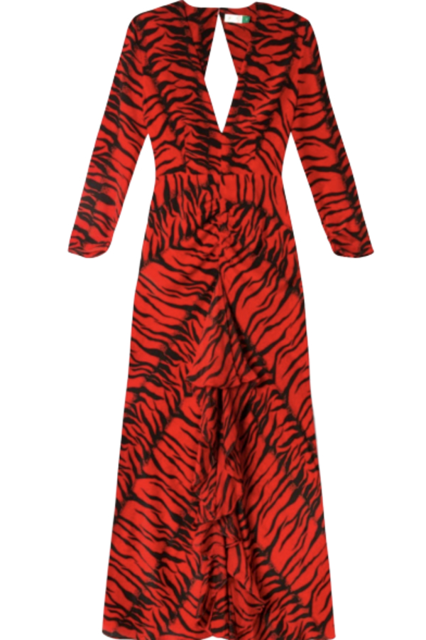 RIXO London Rose Tiger-Print Silk Dress