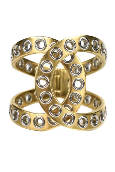 CHANEL - CHANEL GOLD CUFF BRACELET 2016 CC SPRING SILVER HOLE CROSS CLOSURE OPEN BANGLE