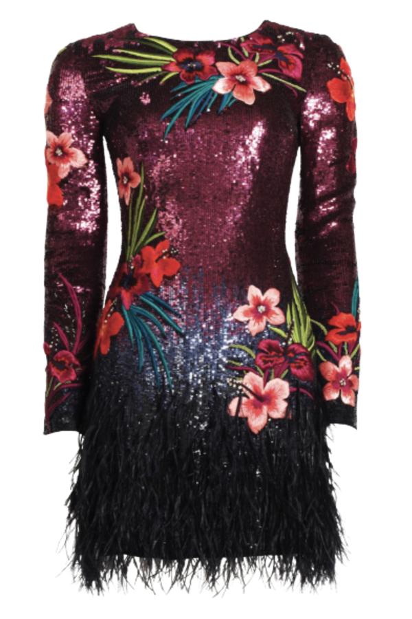 Matthew Williamson Sequin feather dress